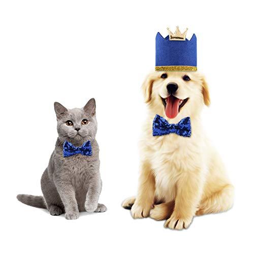 Pet Party Apparel Supplies Nette Weihnachten Geburtstag Festival Hunde Katzen Glänzende Krone Hut Fliege Kragen Set