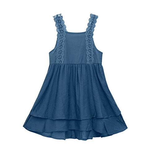 squarex  Baby Mädchen Ärmelloser Rock Teen Lace Stufenrock Kinder Prinzessin Kleid Solid Color Rock Sling Kleid Casual Rock