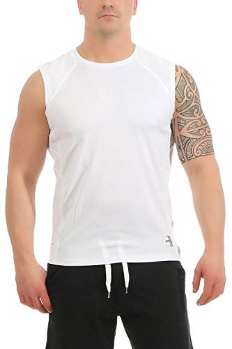 Mivaro Herren Shirt ohne Arme - Tank-Top - Muscle Shirt - Muskelshirt - Achselshirt - Funktionsshirt, Größe:XL, Farbe:Weiß