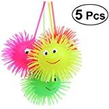 TOYMYTOY LED Glowing Rubber Hedgehog Ball 5pcs - Light Up Ball - Puffer Squeeze Ball, Stress Release Toys