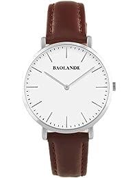 Alienwork Reloj cuarzo elegante cuarzo moda diseño atemporal clásico Piel de vaca plata marrón U04816M-02