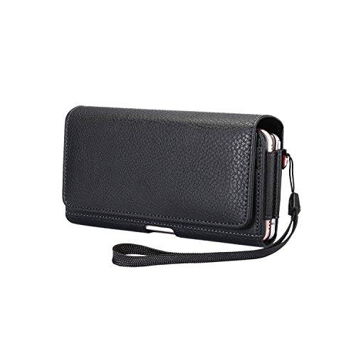 Jlyifan Dual Fächer an Quertasche Executive Gürtel Clip Tasche Case für iPhone X/iPhone 8Plus/Samsung Galaxy Note 8/S8Active/Motorola Moto G5Plus/E4Plus/Moto Z2Play/HTC U11/HTC U Ultra Iphone Executive Leather Case