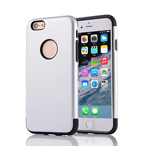 YHUISEN 2 In 1 PC + TPU Armor Hybrid Dual Layer Schutz Schock Absorption Hard Back Cover Case für IPhone 6 Plus / IPhone 6S Plus ( Color : Navy Blue ) Silver
