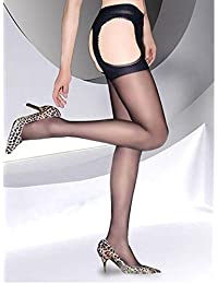 Sexy ultra-mince collant Dim Up ouvert sur le devant style pour les femmes(Noir)