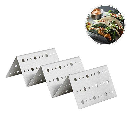 Taco Halter, Edelstahl Taco Rack Soft & Hard Shell Taco Halter Tablett Tellerständer Backofen Mikrowelle spülmaschinenfest - 2 Stück