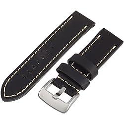Tech Swiss LEA1550-24 24 mm Leather Calfskin Black Watch Band