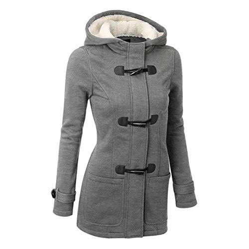EdBerk74 Super Warm Classic Mantel Kapuzenjacke Long Section Wollmischung Outwear mit Leder Ox Horn Form Schnalle für Frauen - Kapuzen Wollmischung Mantel