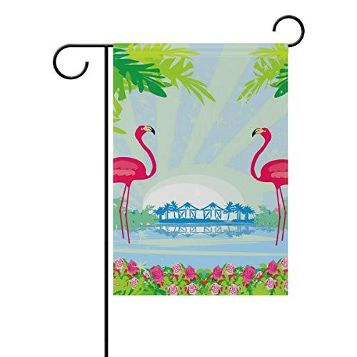 TIZORAX Garten-Flagge, grüne Palmen und rosa Flamingo, doppelseitig, Frühling, Sommer, Hof, Außendekoration, 30,5 x 45,7 cm, Polyester, Mehrfarbig, Small-12x18-Inch (Rosa Flamingos Hof)