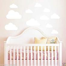 Adhesivo de pared para habitación infantil, con diseño de nubes, 10piezas, Blanco, 10 clouds