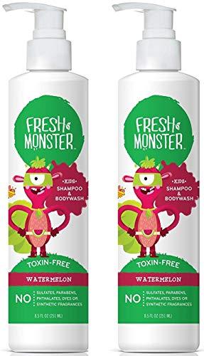 Fresh Monster Toxinfreies hypoallergenes 2-in-1-Kinder-Shampoo und Körperwäsche Wassermelone 2 Count, 8,5 Unzen -