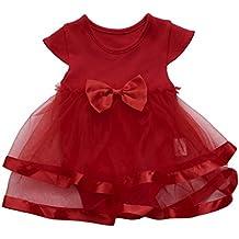 Mono Bebé Vestido de princesa bebé niñas tutu Faldas de cumpleaños chicas Romper Bodies bebe niña recien nacido Amlaiworld (Rojo, Tamaño:24Mes)