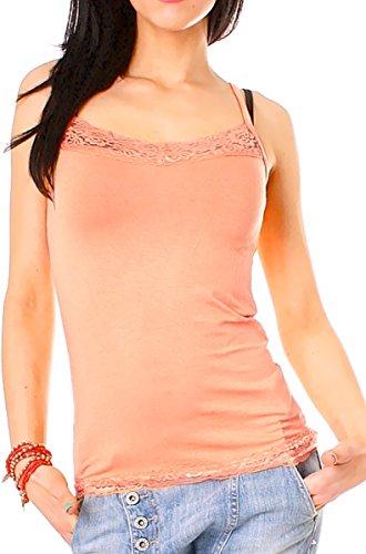 Easy Young Fashion Damen Spitzentop mit Spaghettiträger uni One Size Apricot