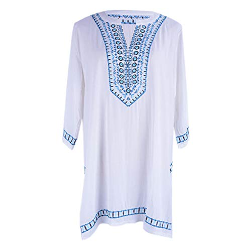 WEH Frauen Vertuschungen Baumwolle Elegant Bestickt V-Ausschnitt Sand Badeanzug Sonnencreme Bluse Für Urlaub, Sonnenbaden -