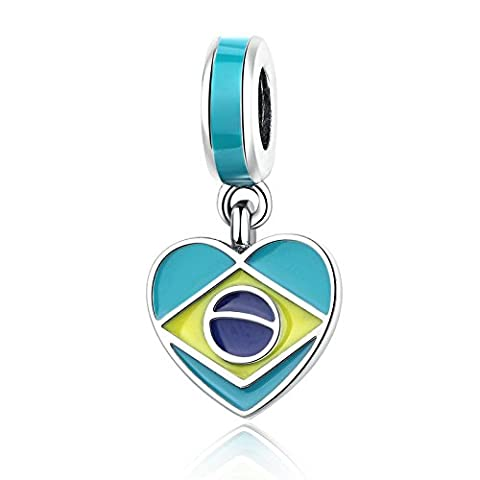 Brasilien Herz Flagge mit Emaille baumeln 925?Sterling Silber Bead Passt Pandora Charme Armband