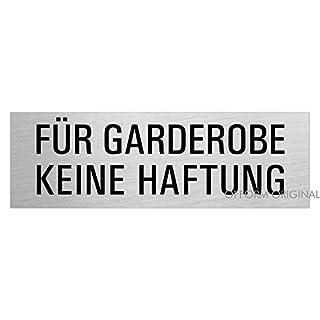 Hinweisschild Türschild Für-Garderobe-Keine-Haftung   Aluminium Edelstahlschilder-Optik   Grösse 240 x 80 mm   Original aus der Ofform Alustyle Kollektion   26016-S