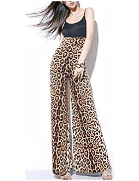 FuweiEncore Pantalones de Mujer de Talle Alto, Pantalones Elegantes, Elegante Falda de Vuelo de Leopardo Elegante