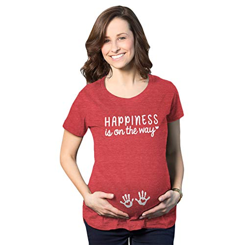 Crazy Dog Tshirts - Maternity Happiness is On The Way Pregnancy Tshirt Cute Baby Hands Tee (Heather Red) - S - Damen - S -