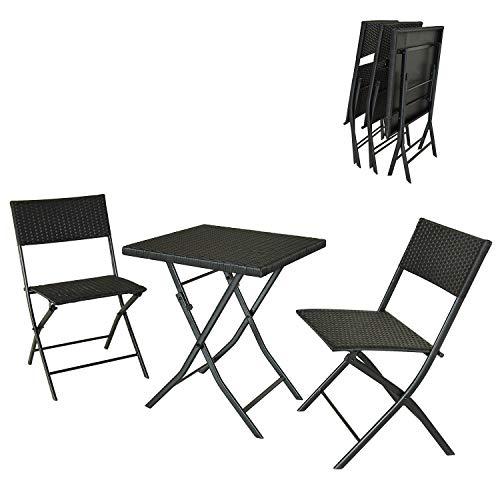 2bcc9dd84b11 soges 3 Pieces Bistro Pieghevoli Outdoor Patio Furniture Wicker Bar Set  Pieghevole Tavolo e sedie Conversation