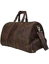 Mens Leather Travel Duffel Bag With Shoes Compartment Weekend Carry On Shoulder Bag By Huntvp