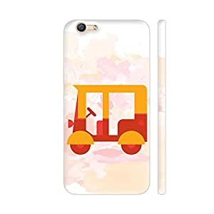Colorpur Yellow Auto Rickshaw Printed Back Case Cover for Vivo Y66