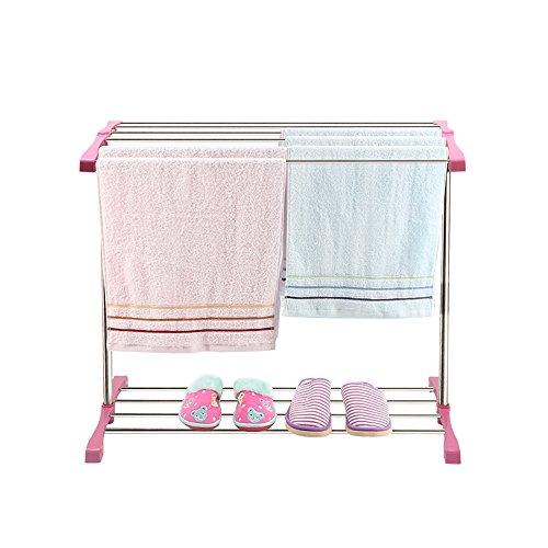 Garderobe Handtuchhalter Stand-Abnehmbarer Edelstahl Einfacher Teleskop-Handtuchhalter Badezimmerfreier Stanz-Baby-Windelhalter Balkon...