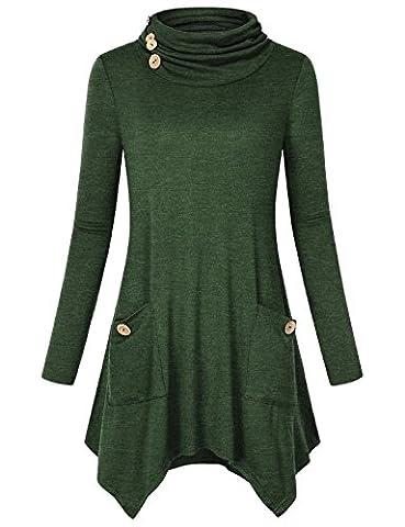 Sweatshirt Tunika für Frauen, Hibelle Damen Hipster Fashion Basic Woke Tee Bluse Asymmetrische Hembe Bequeme Kleidung Leichte Knit Shirts mit Taschen Green XXL