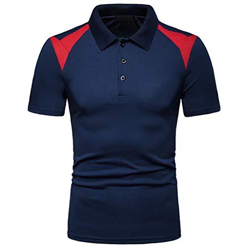 Aiserkly Beiläufige Mischungsfarbe der Art und Weisemänner Slim Fit Kurzarm Sporthemd Spitzenbluse