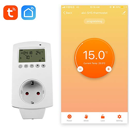aixi-SHS Wireless Wi-Fi Thermostat Plug Electric Heizung Smart Socket Temperaturregelung LED Bildschirm Display - Amazon Alexa Echo/Google Home/IFTTT - TuyaSmart/Smart Life APP Kontrolle -