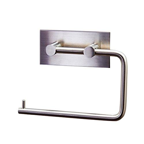 KES Porta carta igienica da bagno in acciaio inox cromato, autoadesivo, A7070