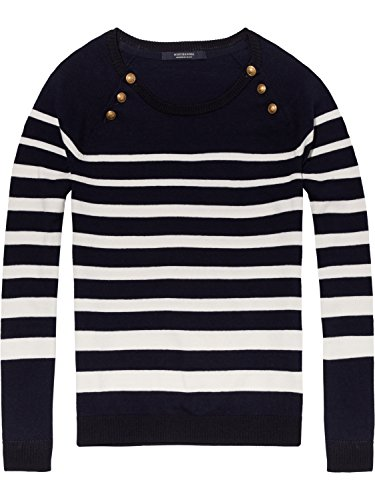 Scotch & Soda Maison Fitted Pull with Buttons At Raglan, suéter para Mujer, (Combo C 19), Small