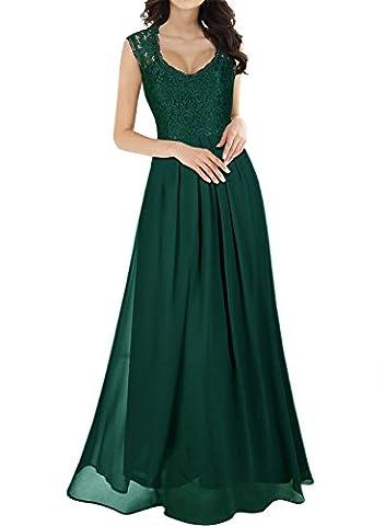 MIUSOL Women's Vintage Elegant Lace Floral Chiffon Cap Sleeve Prom Ball Gown Plunge Neckline Long Maxi Evening Party Dresses for Women