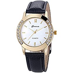 Leather Watch,Rawdah Women Diamond Analog Quartz Wrist Watches BK