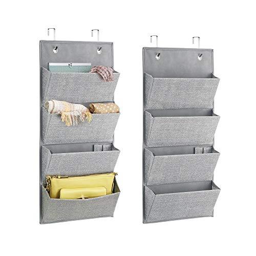 mDesign 2er-Set Hängeorganizer mit je 4 Taschen für die Handtaschen Aufbewahrung - Taschengarderobe bietet auch Platz für Sonnenbrillen, Geldbörsen oder Schals - grau