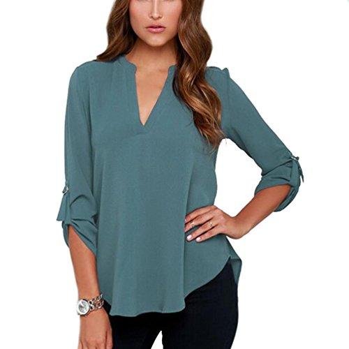 YouPue Chemise Femme Col V Bouton Manches Longue Blouse Mousseline T-Shirt Tops Eté Décontractée Paon bleu