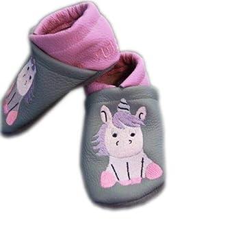 Handmade Lederpuschen Kinderschuhe Babyschuhe Einhorn 2