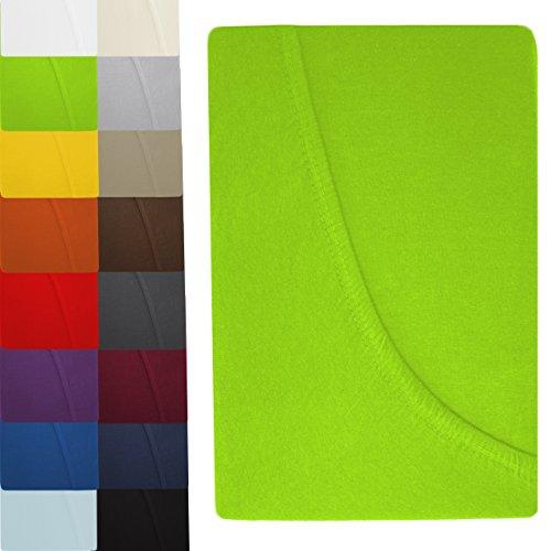 luxoon 2er Sparpack KINDER Spannbettlaken Jersey 100% Baumwolle Serie in modernen Farben ÖKOTEX geprüft   60 x 120 bis 70 x 140 cm - apfel grün