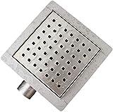 Bernstein Badshop Edelstahl-Duschrinne S01 Bodenablauf für Duschkabine - inkl. Ablaufblende - Größe wählbar, Größe:15 x 15 cm