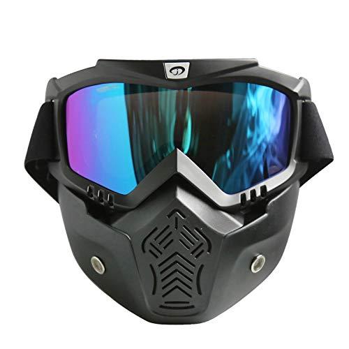 Blisfille Schutzbrille Für Brillenträger Motorradhelm Off Road Fahrer Mit Outdoor Schutzbrillen Maske Retro Maskenbrille Ausgestattet Black Multicolor Damen Herren