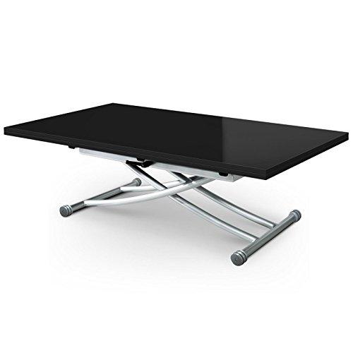 Paris Prix - Table Basse Rectangulaire Higher 150cm Noir Laqué