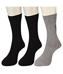 U.S. Polo Assn. Mens Socks (Pack of 3) (RDUS-1354-013_Black , Grey and Black)