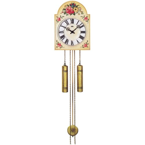 AMS - Wanduhr mit Pendel mechanisch antik vintage Pendeluhr mit Blumen-Muster
