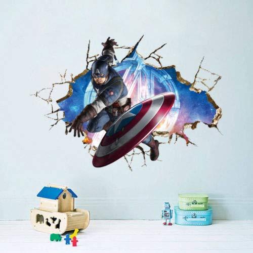 Utopiashi The Avengers 3D-Wandsticker, Dekoration, Wandbilder, Kunst-Aufkleber, Eule, Mond One Size Captain America