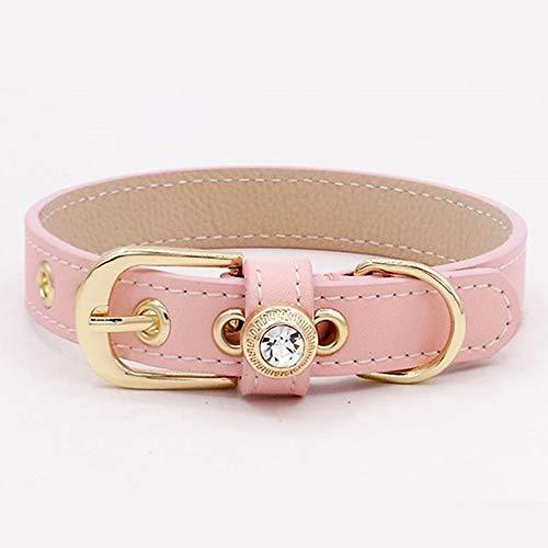 58aa99a83188 MSNDD Collare per Cani in Pelle Fatti A Mano, Collare per Cani di Gatto  (Rosa O Viola) (Colore : Rosa, Dimensioni : XXS(16-21))