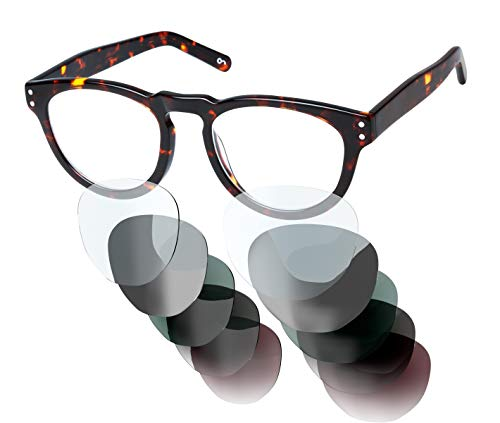 Sym Brille mit wählbarer Sehstärke von -4.00 (kurzsichtig) bis +4.00 (weitsichtig) | Auswechselbare Gläser in 6 Farben | Für Damen & Herren (Unisex) | Classic Tortoiseshell Effect | High Gloss