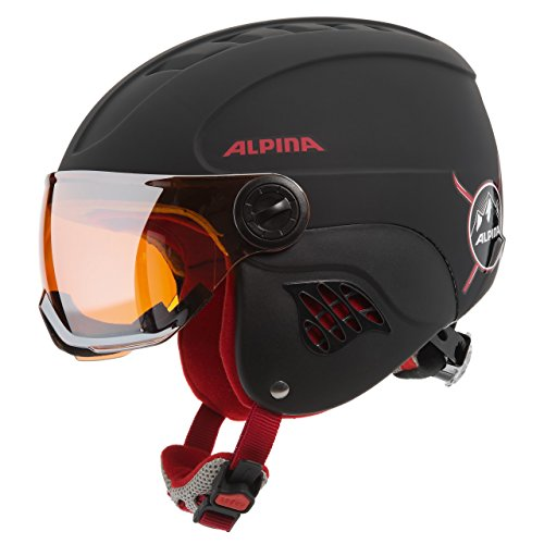 ALPINA Kinder Carat LE Visor HM Skihelm, Black-Red Matt, 51-55 cm
