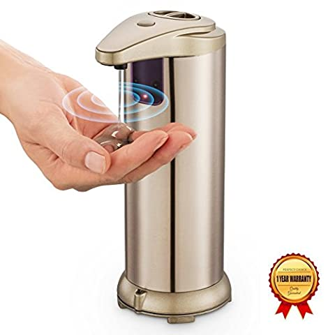 VICPHIC 3 Mode Automatic Touchless Sensor Soap Dispenser for Kitchen & Bathroom Countertops Stainless Steel Brushed Nickel 280ml (9.5oz)