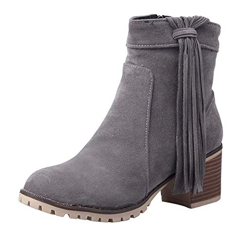 Damen High Heel Stiefeletten, Damenmode Quaste Flock Zipper Schuhe für Outdoor Winter Warm Walking Wandern Gummi Martin Biker Stiefel (Farbe : Grau, Größe : 6.5 UK)