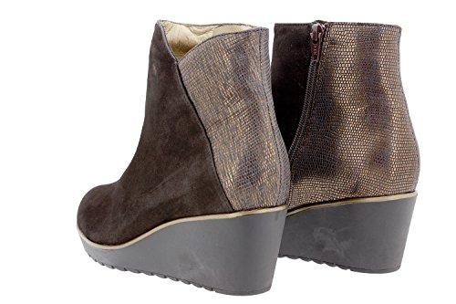 Chaussure femme confort en cuir Piesanto 9793 botte confortables amples Caoba