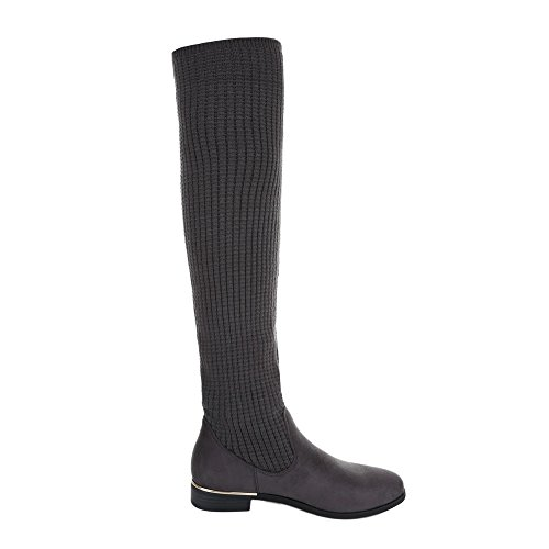 Ital-Design Overknees Damenschuhe Overknees Blockabsatz Moderne Stiefel Grau
