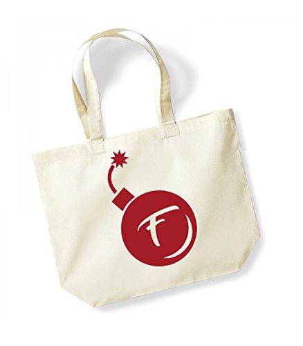 F Bomb - Large Canvas Fun Slogan Tote Bag Natural/Red